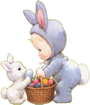 Bunny and little girl in bunny suit with Easter basket