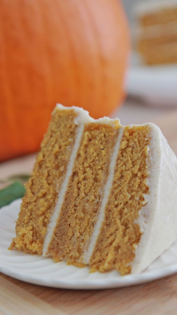Made from scratch, moist, fluffy #pumpkin #spice #cake recipe with #cinnamon cream cheese frosting.