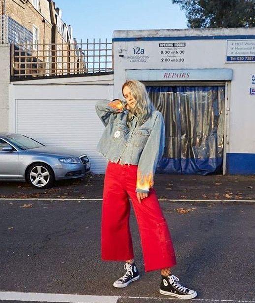 Hem skater jeans red/ Converse/fish net tights/including painted denim jacket/// Asos