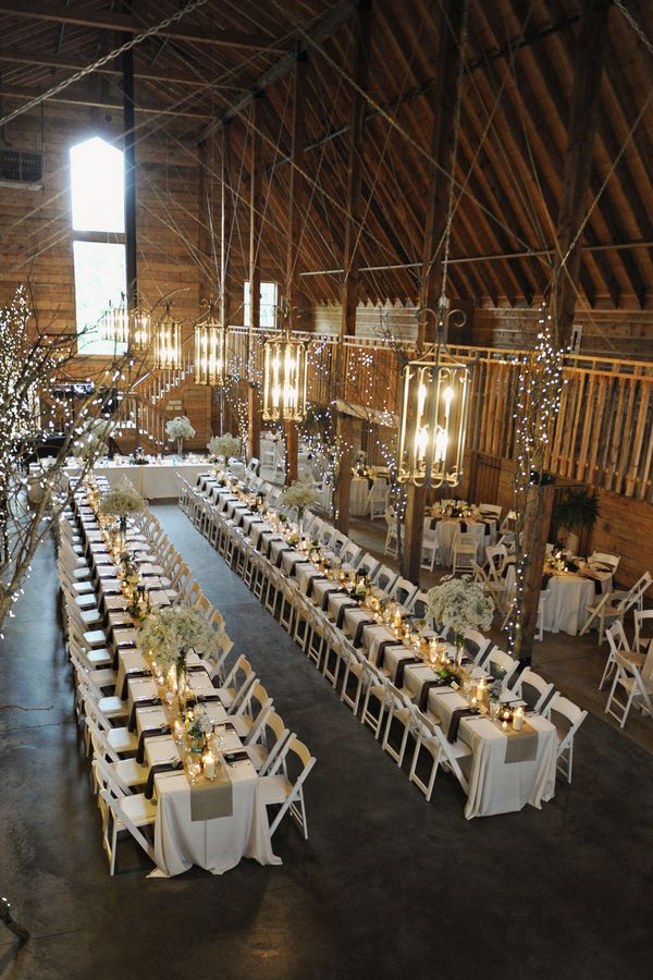 """Baby's Breath in the Barn"" - love the lanterns & lighted tree on the posts"