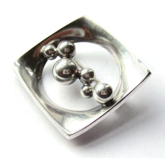SOLD. Vintage Erik Granit 1971 modernist brooch, sterling silver Finnish design, Nordic space age bobbles, mid century modern, Finland beads, https://www.etsy.com/listing/261013375/vintage-erik-granit-1971-modernist