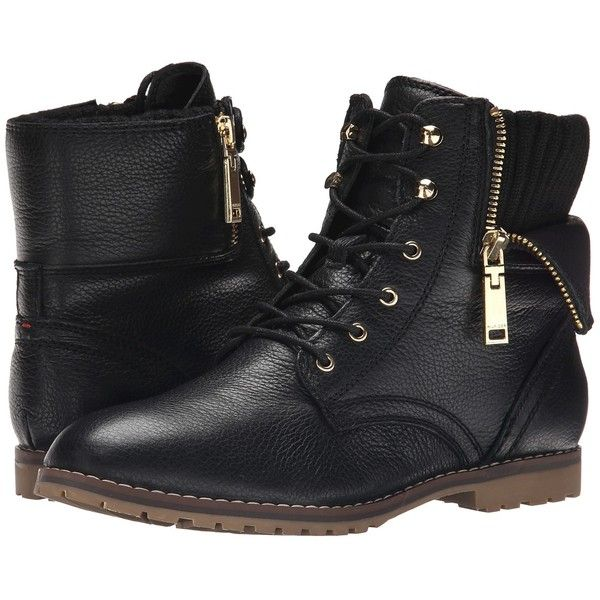 Tommy Hilfiger Minny Women's Lace-up Boots (6,010 PHP) ❤ liked on Polyvore featuring shoes, boots, lace up combat boots, folded combat boots, military boots, leather boots and fold over boots