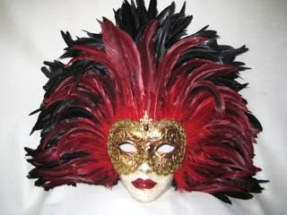 Si Lucia Full Face Black/Red Tiger Feathers Mask. Biggs Ltd. Gallery. Price $295. 1-800-362-0677.