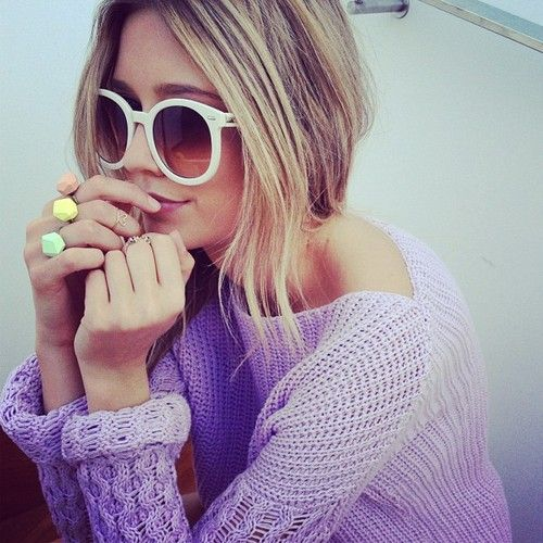Oversized sunnies.Candies Colors, Shades, Fashion, Style, Rings, Pastel Colors, Cable Knits Sweaters, Sunglasses, Chunky Knits