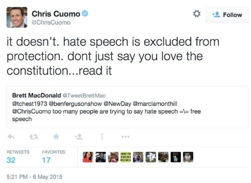 CNN anchor Chris Cuomo, professional journalist, Yale grad, law school grad, claims the Constitution doesn't protect hate speech