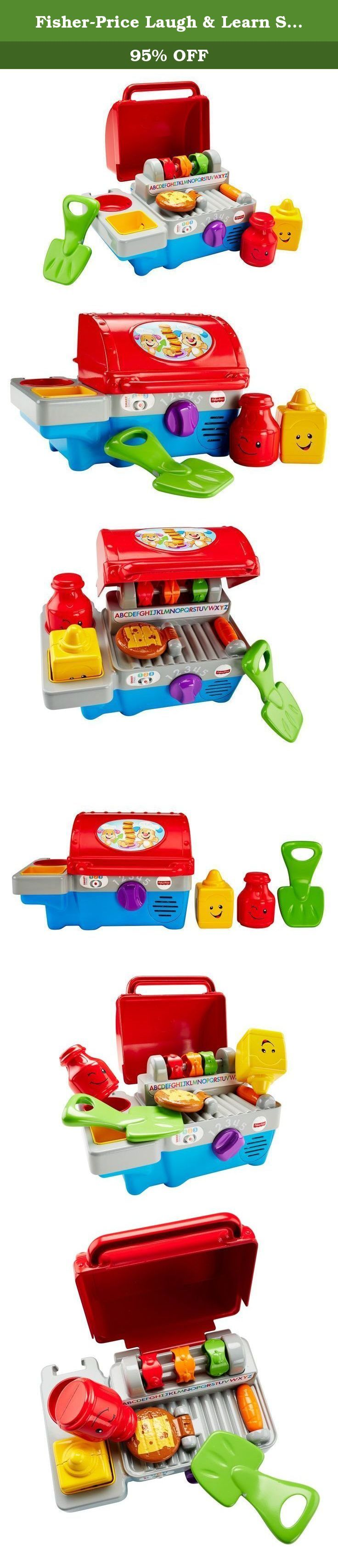 Fisher-Price Laugh & Learn Smart Stages Grill. What's cooking'? This toy grill fires up baby's imagination with lots of role play activities and fun-filled learning. Open the lid, turn the dial, flip the burger or sort the ketchup & mustard shapes to activate sing-along songs, silly sounds, words & fun phrases. These 5 activations teach letters, numbers, colors, manners, opposites & more - some in Spanish. And your little chef will love the finger food - there's a spinning veggie skewer…