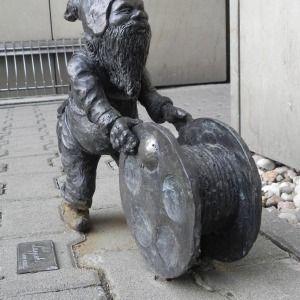 A gnome rolling a reel of...? - Wrocław, Poland  Lappek - Politechnika Wroclawska budynek D-20…  Wrocław, Polska