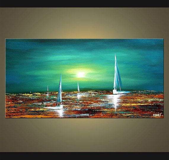 Turquoise Teal Acrylic Sailboat Painting Abstract Seascape Original by Osnat…