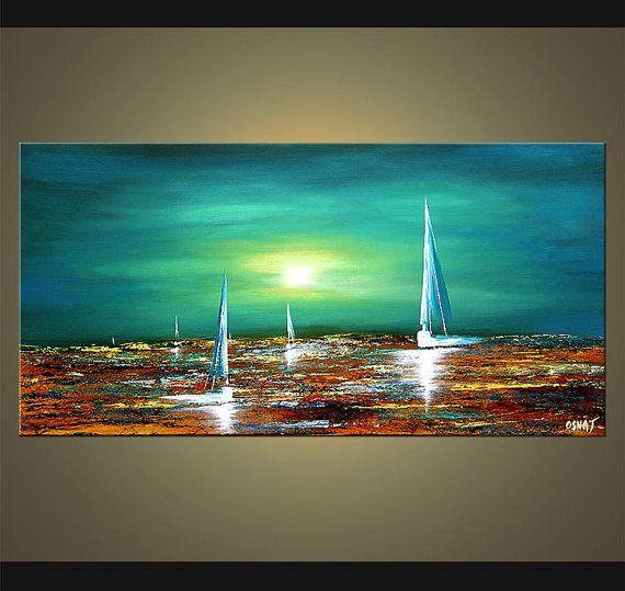 Velero acrílico Teal turquesa pintura paisaje por OsnatFineArt                                                                                                                                                      Más