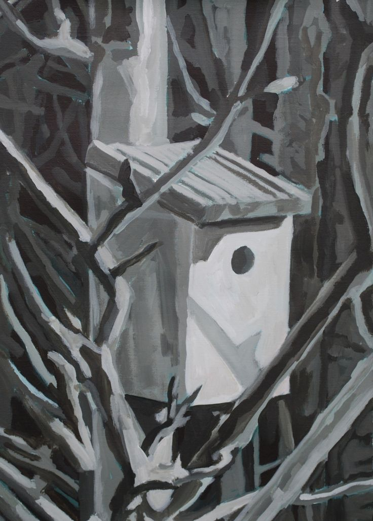 Bird House (Winter) Acrylic on paper 2011 H 42cm  W 29.5cm