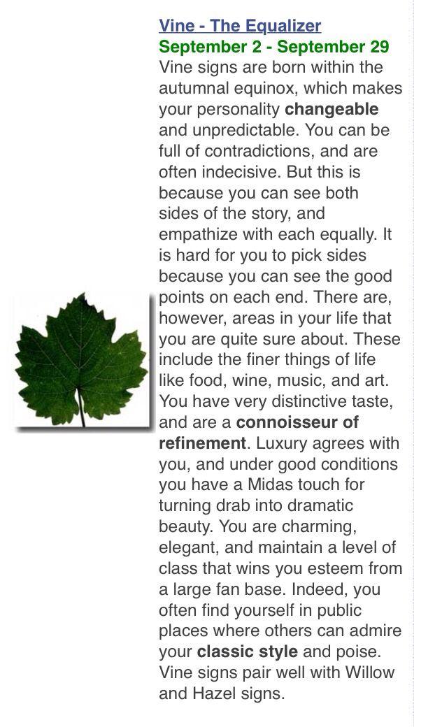 Druids/Celtic tree astrology: Vine