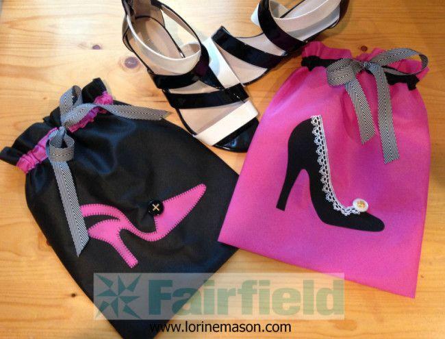 Fancy Sewn Shoe Bag ༺✿ƬⱤღ  http://www.pinterest.com/teretegui/✿༻