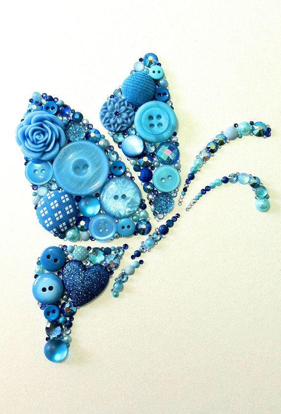 Button Art & Swarovski Crystal Butterfly Blue Butterfly via Etsy