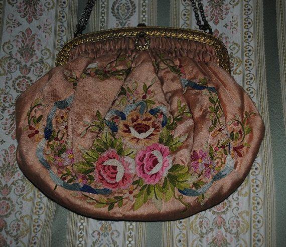 Antica BORSETTINA Francese in seta ROSA di villavillacolle su Etsy
