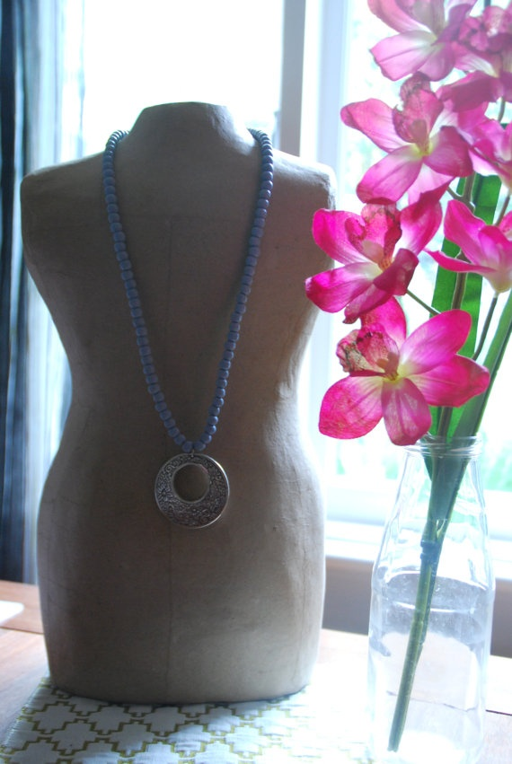 Blue wooded Silver pendant Necklace by becsamdesigns on Etsy, $15.00