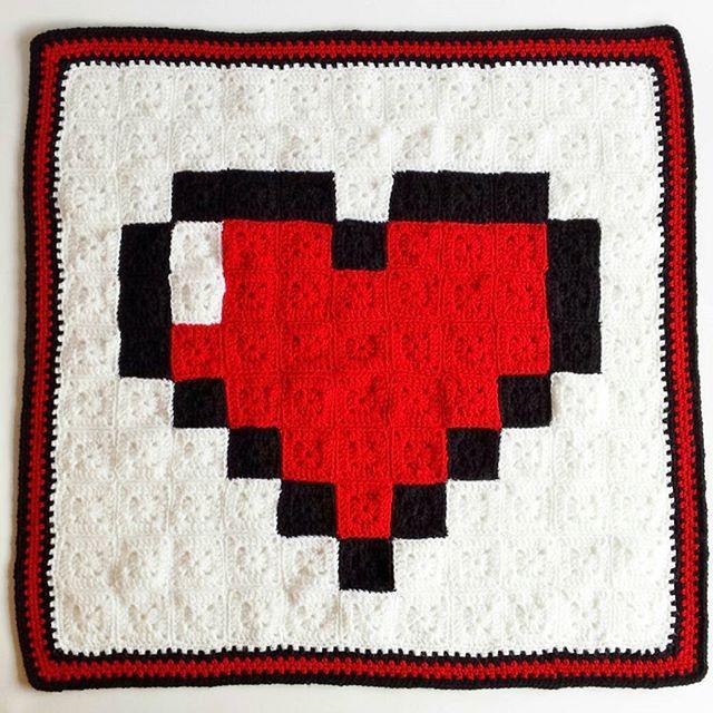 8-Bit Heart (Zelda) Baby Crochet Blanket by  thisgeeklove