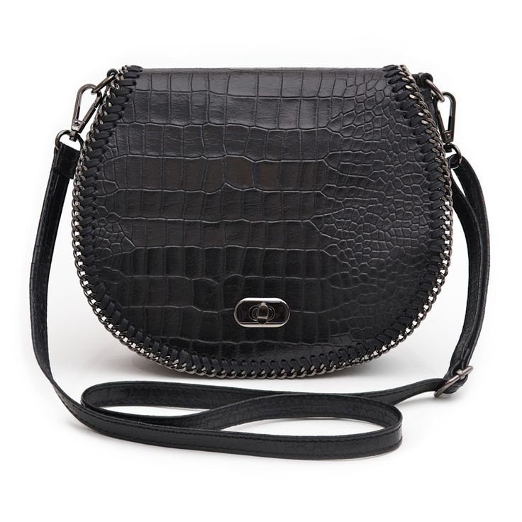 Marlafiji Chelsea Black Croc Embossed Italian Crossbody Bag - $249.50 #travelbag #crossbodybag