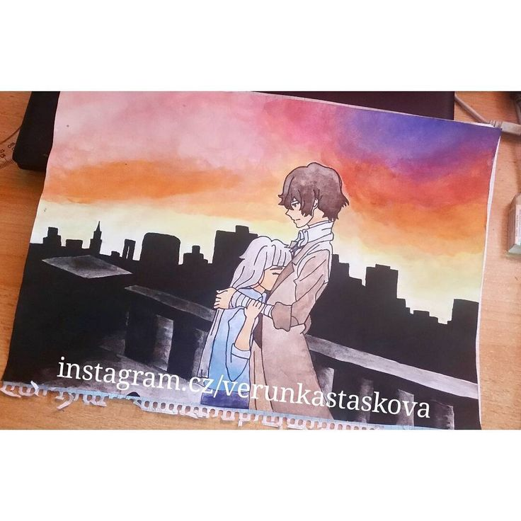 Paper paiting, watercolor. Anime/manga: Bungou Stray Dogs [Dazai Osamu]