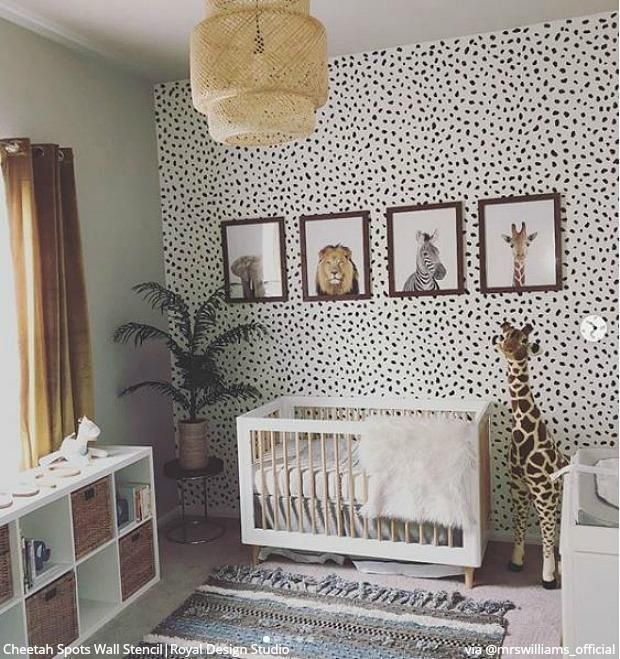 Cheetah Spots Wall Stencil Baby Boy Rooms Nursery Room Baby