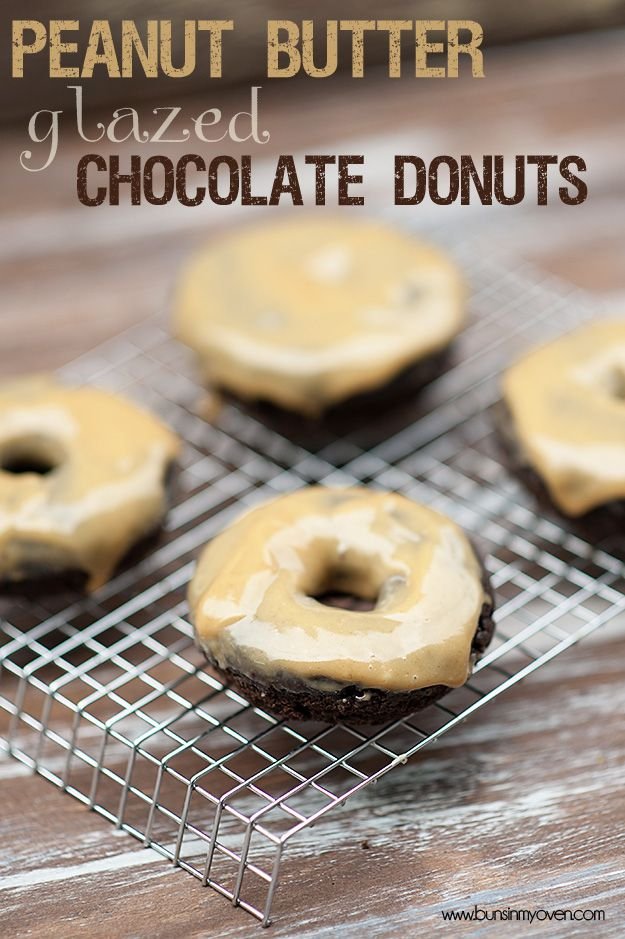 Dark Chocolate baked donuts with peanut butter glaze – SO easy and SO yummy!  You can have the batter made and in the pans by the