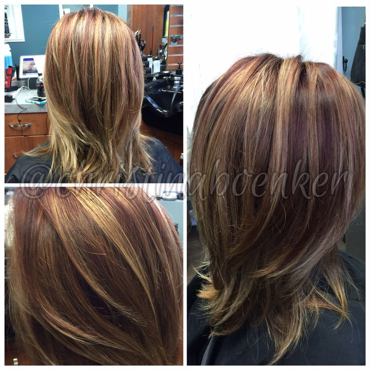 Multi Dimensional Red Brown With Golden Blonde Highlights