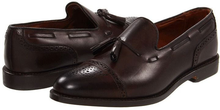 $345, Dark Brown Leather Tassel Loafers: Allen Edmonds Allen Edmonds Jermyn. Sold by Zappos. Click for more info: https://lookastic.com/men/shop_items/24028/redirect