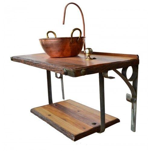 Suporte de pia com cuba de cobre - 2232 #arte #moveis #rusticos - www.artemoveisrusticos.com.br