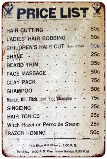 1950s Barber Shop Price List Vintage Reproduction Metal