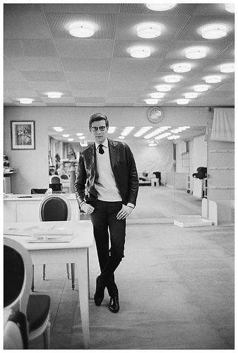 Yves Saint Laurent in the design studios at Christian Dior in Paris, 1960