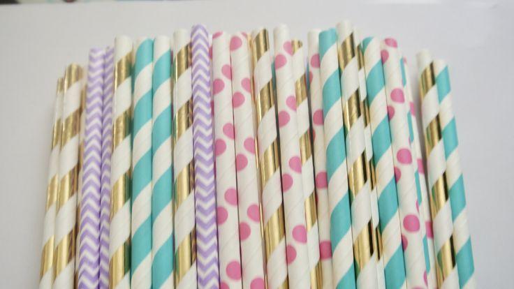 Mermaid Paper Straws. Mermaid Party Decorations. Paper Rabbit. Mermaid Party Decor. Teal, Purple and Gold. Ariel Party Decorations by PaperRabbit87 on Etsy