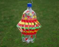 wind spinner - plastic bottle, tape & xacto knife