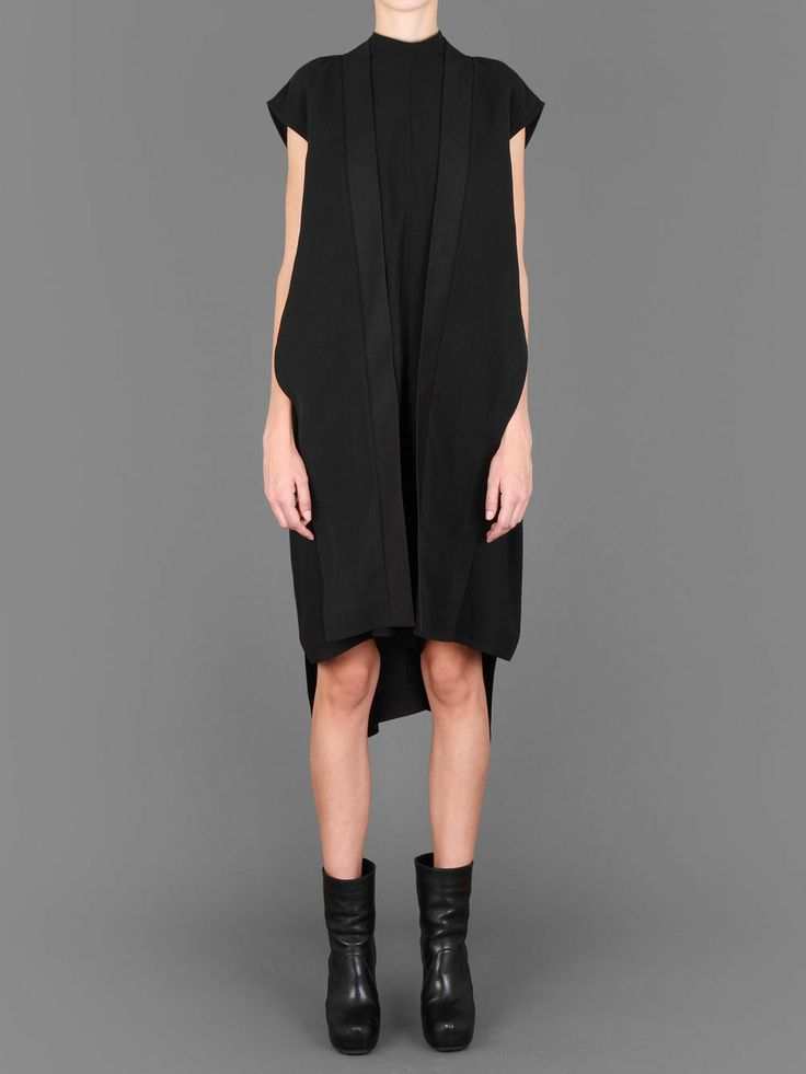 RICK OWENS LONG SILK BEACH MANTLE WITH SIDE SLITS