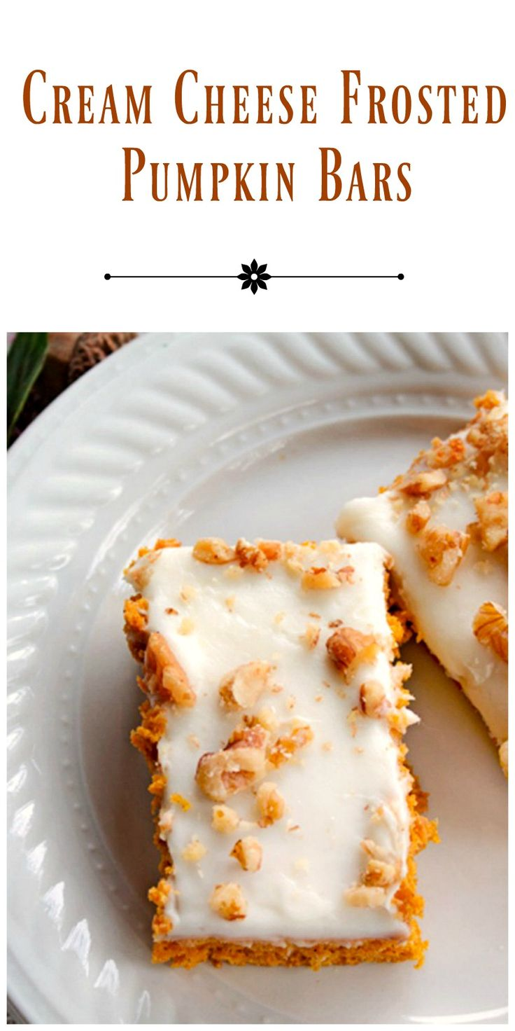 Cream Cheese Frosted Pumpkin Bars - made in a jelly roll pan these delicious pumpkin bars are the perfect easy Fall or holiday dessert. via @https://www.pinterest.com/BunnysWarmOven/bunnys-warm-oven/