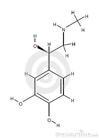 Fórmula estrutural da adrenalina isolada no fundo branco