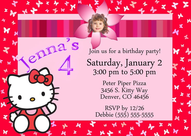 best 25+ hello kitty invitation card ideas on pinterest | hello, Birthday invitations