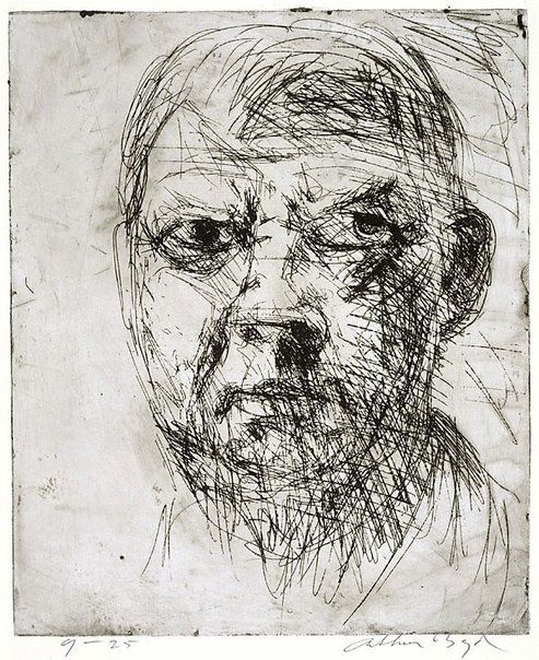 An image of Self portrait by Arthur Boyd 1962-1963 etching