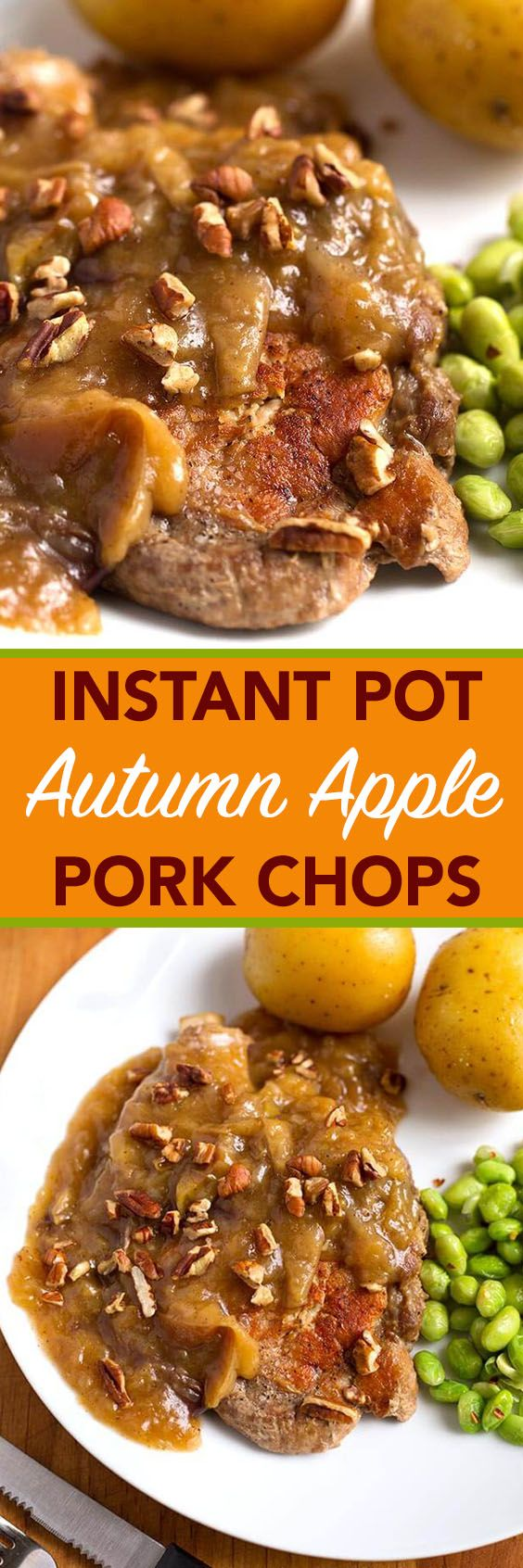 Instant Pot Autumn Apple Pork Chops are rich and warm tasting with just a hint of cinnamon and nutmeg. My family's absolute favorite pork chop recipe! simplyhappyfoodie.com #instantpotrecipes #instantpotporkchops #instapotporkchops #instapotrecipes