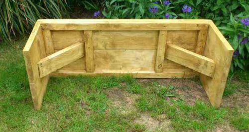 Rustic Hand made Wooden Pine Garden Bench Furniture Reclaimed Scaffolding Boards | eBay