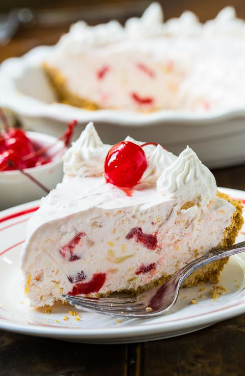 Millionaire Pie - full of pineapple, pecans, and maraschino cherries. This no-bake pie only takes a few minutes to prepare.