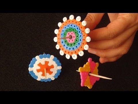 Hama boncuklarla topaç yapımı. DIY perler