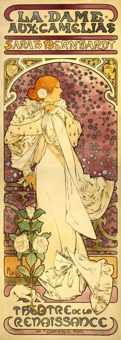 Sarah Bernhardt, la dame aux camelias, poster by Alfons Mucha, 1896