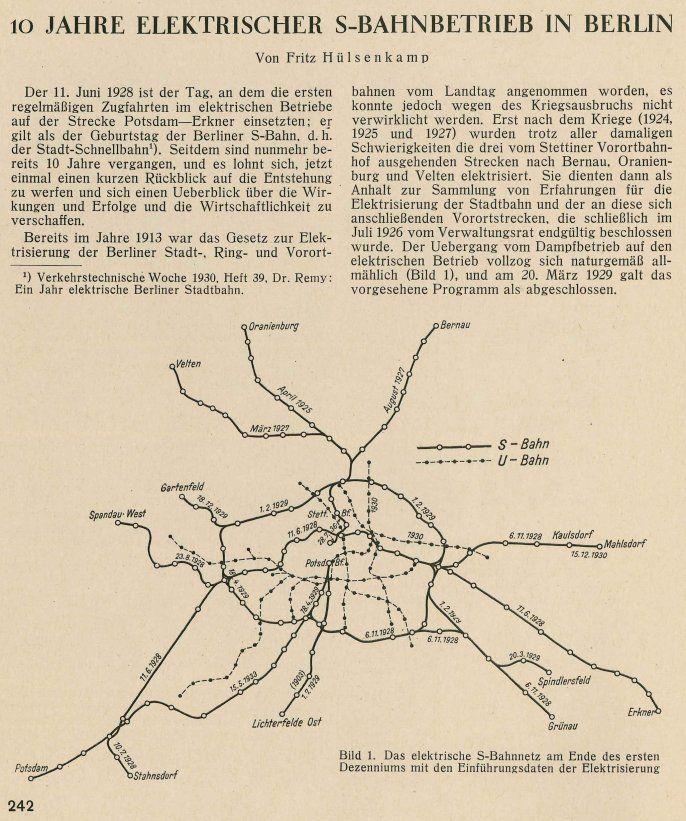 Das elektrische S-Bahnnetz am Ende desersten Dezenniums mit den Einfuehrungsdaten der Elektrisierung