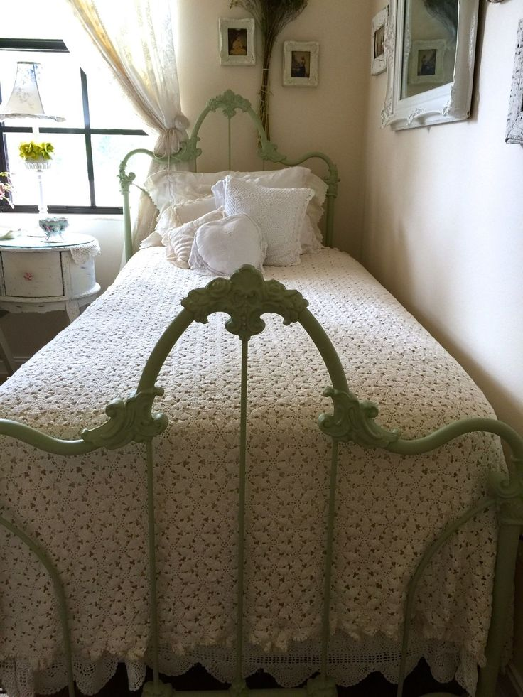 Vintage Shabby Cottage Chic Crochet Bedcover~Cotton~Color Natural ~TWIN | eBay