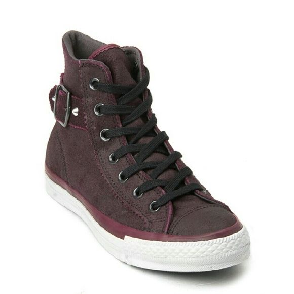 Burgundy Studded Leather Converse Sneakers 9 Women's leather studded hi top converse sneaker with buckle detail. Size 9 only worn once. Very clean and free of smells. Converse Shoes Sneakers