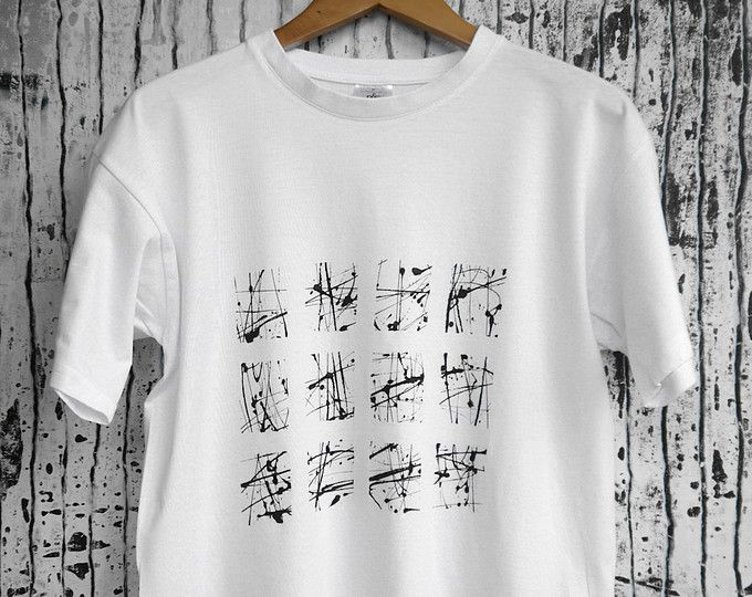 Hand-painted white t-shirt, with black abstract painting. 100% quality organic cotton.