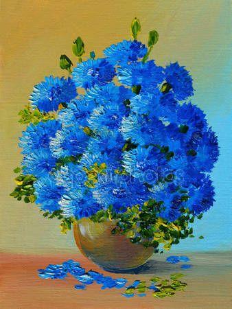 Downloaden - Olieverfschilderij - stilleven, een boeket van bloemen — Stockbeeld #50218525
