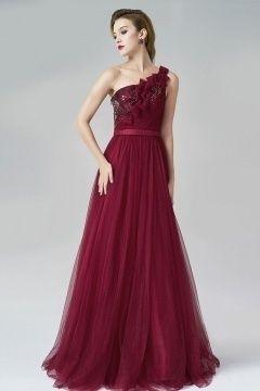 Elegant Rot Lang Ein Schulter A-Linie Tüll Abendkleider