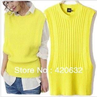 女性は黄色のニットセーターブランドのベストxl2014年新しいファッションの女性セクシーなベストの綿袖なしのセーター高品質ピース- 1ホット(China (Mainland))
