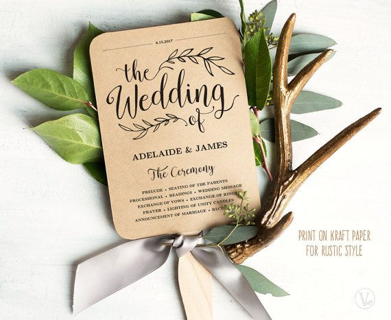 Printable Wedding Program Template, Fan Wedding Program, Kraft Paper Program, Wedding Fans, Editable text, 5x7, VW01