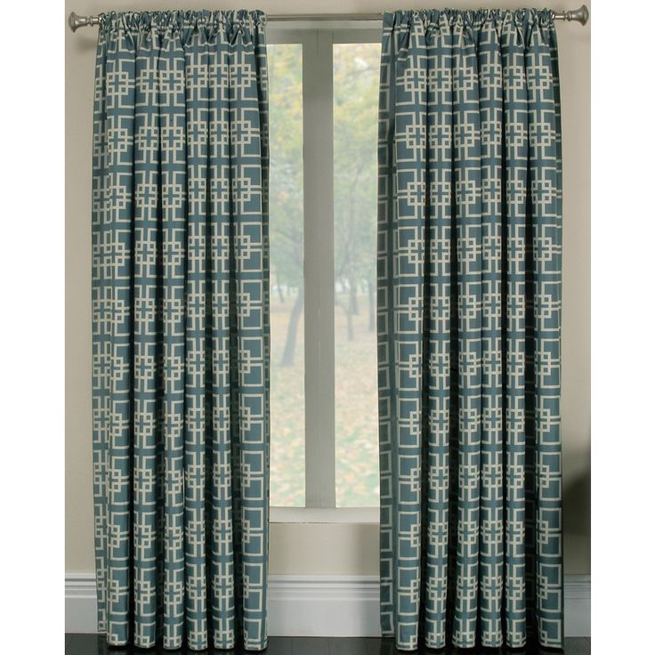 Allen Roth Thaddeus L Geometric Wave Rod Pocket Curtain Panel